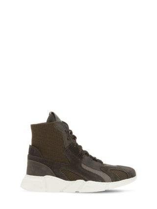 Knit & Suede Slip-on High Top Sneakers (groen)