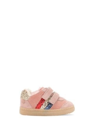 Glittered Leather & Shearling Sneakers (roze)