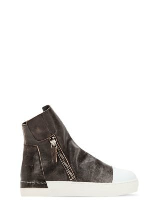 Crackled Leather Zip-up Sneakers (zwart)