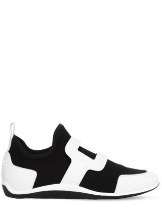 Sporty Viv Leather & Neoprene Sneakers (zwart/wit)
