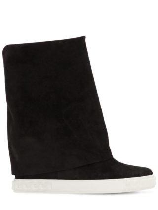 80mm Suede Wedge Sneakers (zwart)