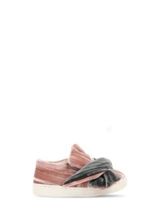 Velvet Slip-on Sneakers W/ Bow (roze)
