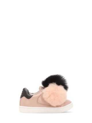 Leather Slip-on Sneakers W/ Fur Pompoms (roze)