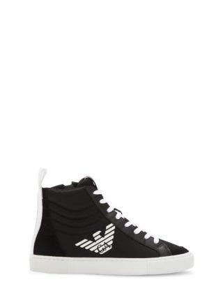 Nylon Canvas & Faux Leather Sneakers (zwart)