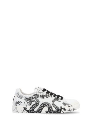 Dragon Printed Leather Sneakers (wit/zwart)