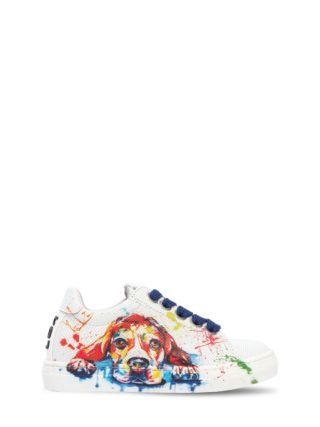 Dog Printed Leather Sneakers (wit)