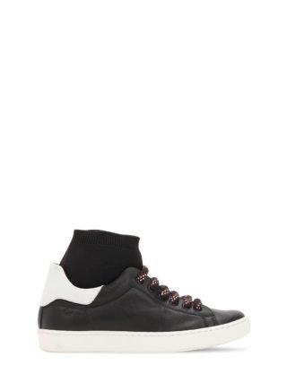 Leather Sneakers W/ Knit Sock Detail (zwart)