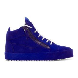 Giuseppe Zanotti Blue Flocked May London High-Top Sneakers