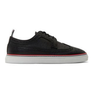 Thom Browne Black Longwing Brogue Sneakers