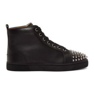 Louboutin Black Lou Spikes High-Top Sneakers