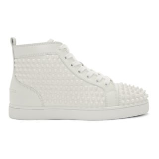 Louboutin White Louis Spikes High-Top Sneakers