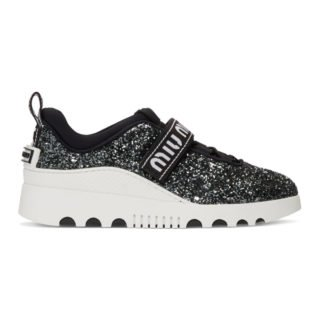 Miu Miu Black and White Glitter Run Sneakers