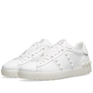 Valentino Rockstud Untitled Open Low Top Sneaker (White)