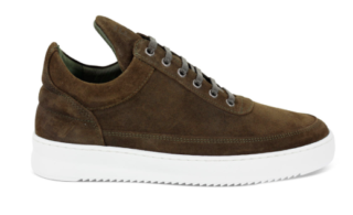 Filling Pieces Low Top Ghost Dark Green Waxed Suede