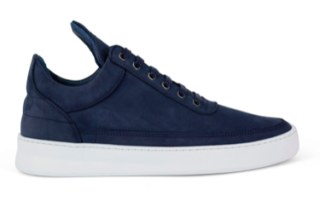 Filling Pieces Low Top Ghost Waxed Suede Blauw