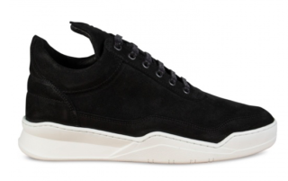 Filling Pieces Low Top Ghost Waxed Suede Black