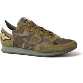 Philippe Model Tropez sneaker met camouflagedessin en suède details