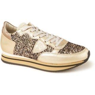 Philippe Model Tropez Platinum Flock sneaker van leer met glitter