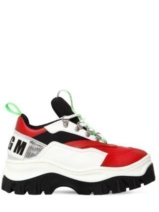 40mm Faux Leather & Mesh Sneakers (wit/rood)