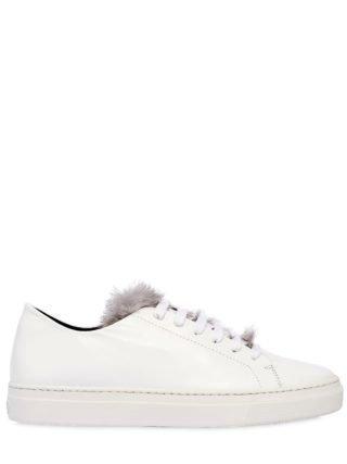 20mm Niki Leather & Mink Sneakers (wit/grijs)