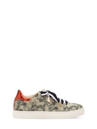 Mickey Mouse Print Faux Leather Sneakers (goud)