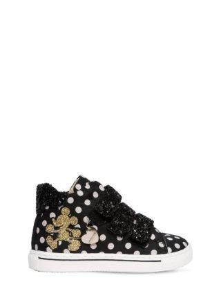 Polka Dot Nylon & Faux Leather Sneakers (zwart)