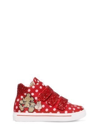 Polka Dot Nylon & Faux Leather Sneakers (rood)