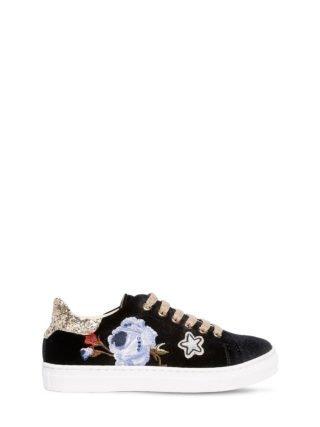 Floral Embroidered Velvet Sneakers (zwart)