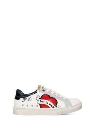 Leather & Suede Graffiti Sneakers (wit)