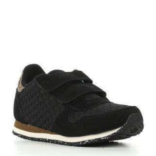 Woden Wonder Ydun Weaved suède sneakers met leer (zwart)