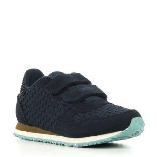 Woden Wonder Ydun Weaved suède sneakers met leer (blauw)