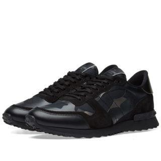 Valentino Metallic Camo Rockrunner Sneaker (Black)