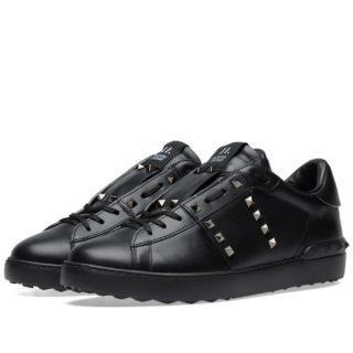Valentino Open Low Rockstud Untitled Sneaker (Black)
