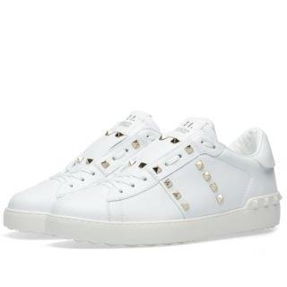 Valentino Open Low Rockstud Untitled Sneaker (White)