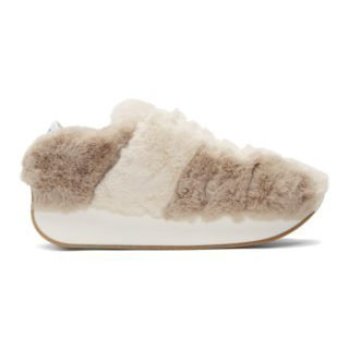 Marni Dance Bunny Off-White and Grey Faux-Fur Bigfoot Sneakers