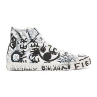 Vetements White Georgian Graffiti High-Top Sneakers