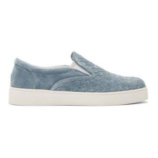 Bottega Veneta Blue Suede Intrecciato Dodger Slip-On Sneakers