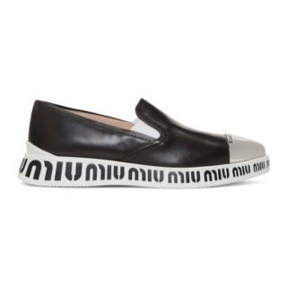 Miu Miu Black Pointed Toe Cap Sneakers