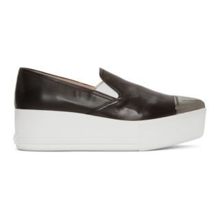 Miu Miu Black Toe Cap Platform Slip-On Sneakers