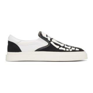 Amiri Black and White Bones Slip-On Sneakers