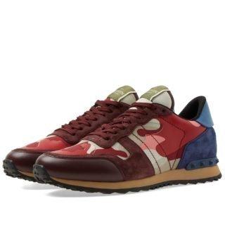 Valentino Rockrunner Sneaker (Burgundy)
