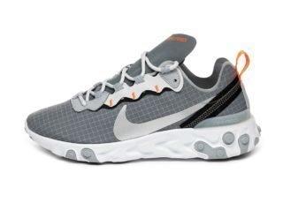 Nike React Element 55 (Cool Grey / Metallic Silver - Hyper Crimson)