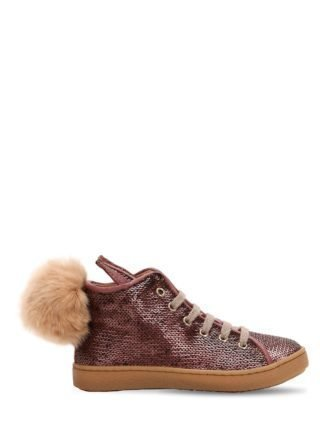 Sequined Leather Sneakers W/ Fur Pompom (roze)