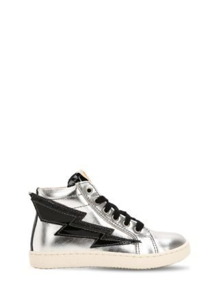 Lightning Bolt Leather High Top Sneakers (zilver)