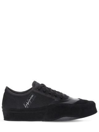 Leather, Suede & Canvas Sneakers (zwart)