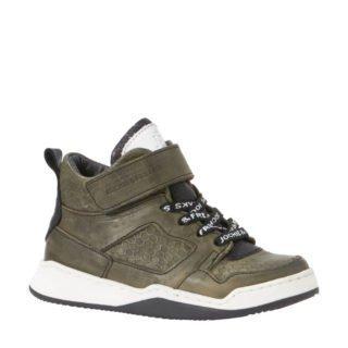 JOCHIE&FREAKS leren sneakers met honingraatprint (groen)