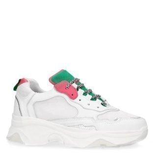 Sacha leren sneakers wit/groen (wit)