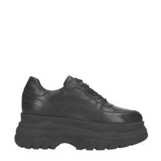 Sacha leren chunky platform sneakers zwart (zwart)