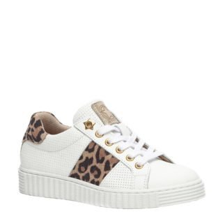 Groot leren sneakers met panterprint (wit)