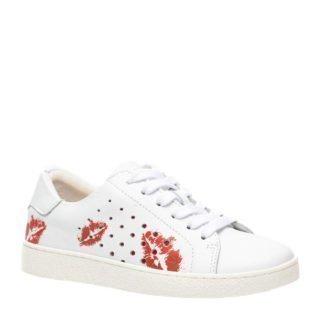 Groot leren sneakers wit/rood (wit)